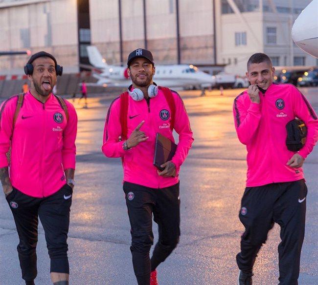 Alves, Neymar y Verratti, con el PSG