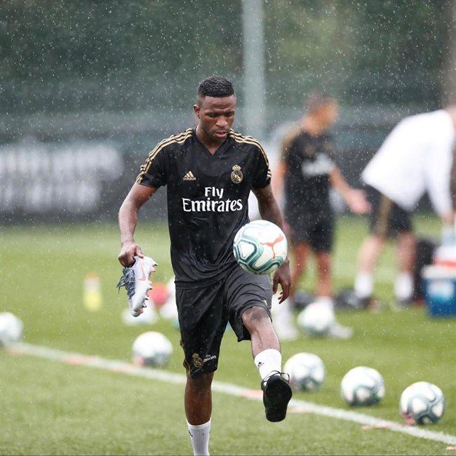 Vinicius, en un entrenamiento del Madrid