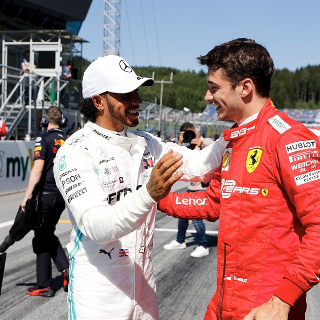 Hamilton y Leclerc en el GP de Gran Bretaña