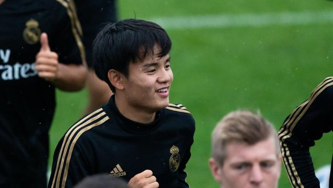 Kubo en la pretemporada del Real Madrid