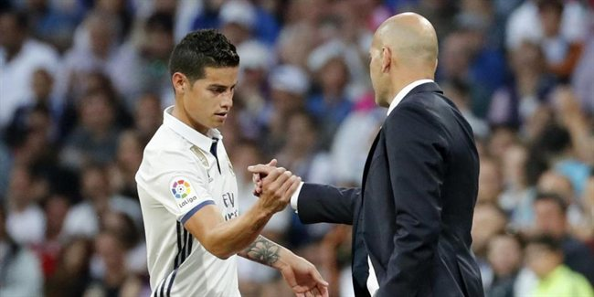James y Zidane, en el Madrid