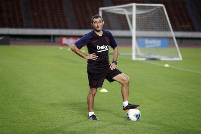 Ernesto Valverde, en un entreno