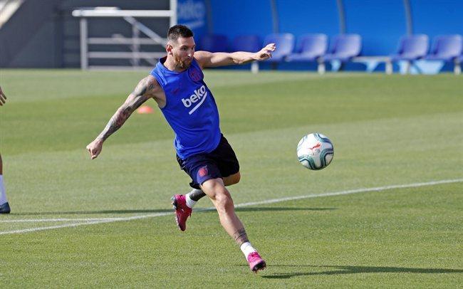 Leo Messi, en un entreno