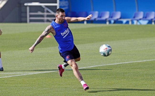 Leo Messi, entrenando