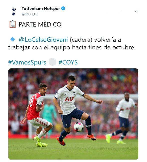 Sensible baja: Tottenham confirma la lesión de Giovani Lo Celso