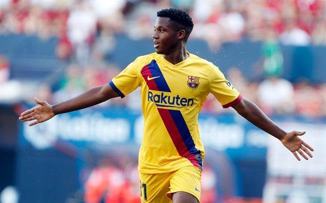 Ansu Fati celebrando un gol con el Barça