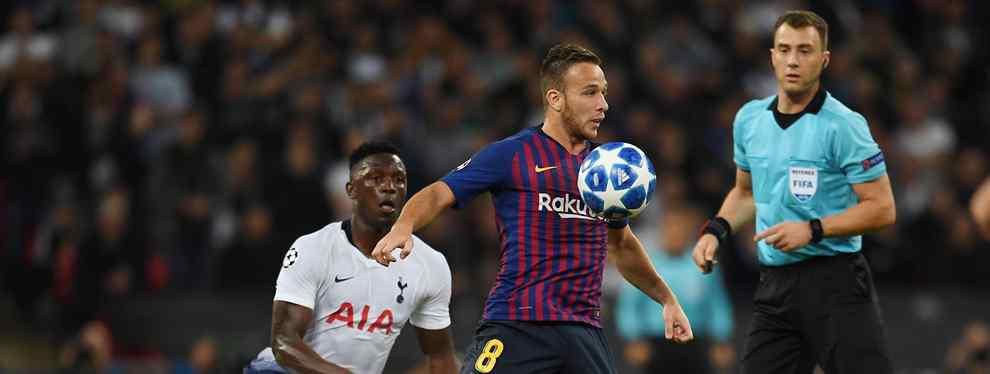Arthur centra todas las miradas en el Barça. El centrocampista brasileño tiene un cara a cara con un crack y Leo Messi tiene que intervenir para que no vaya a más.