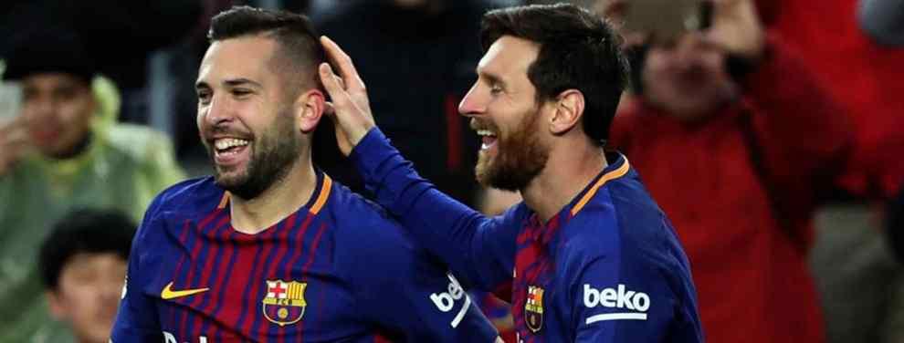 Jordi Alba tiembla. El futuro del catalán sigue sin aclararse mientras que el Barça busca un lateral izquierdo capaz de sustituirle por petición expresa de Ernesto Valverde.