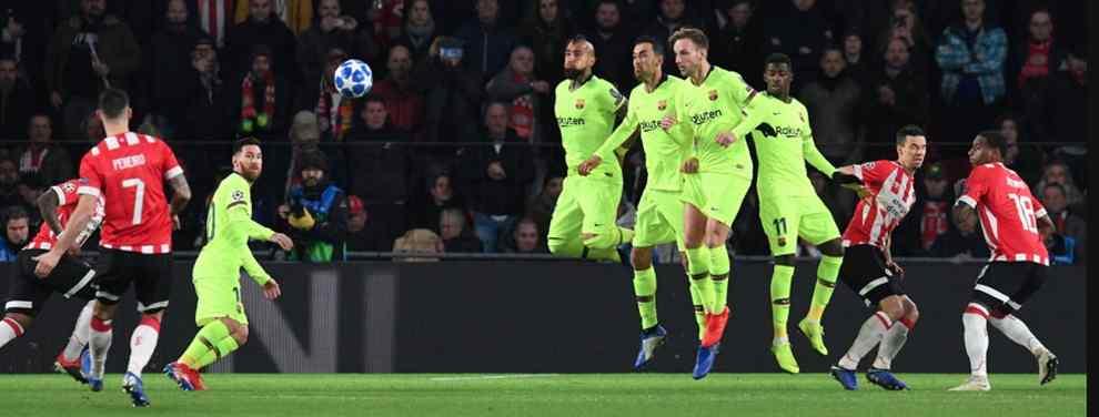 Pobre imagen la ofrecida por el Barça en el Philipps Stadion. La única noticia positiva, la victoria cosechada tras tres partidos sin ganar y el golazo de Messi, que sigue con su particular puesta a punto.