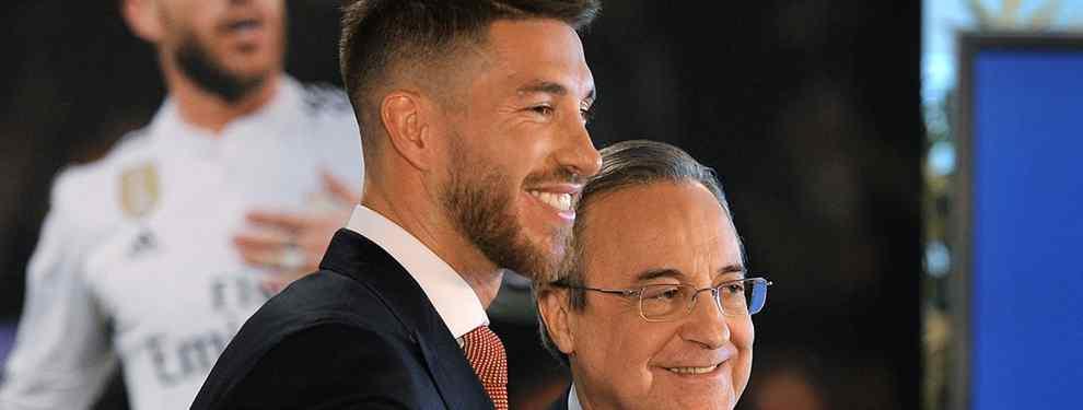 Sergio Ramos pone las caras sobre la mesa a Florentino Pérez.  Con un contrato que termina en 2020, a poco más de un año y medio de expirar, el capitán del Real Madrid fija condiciones para renovarlo.