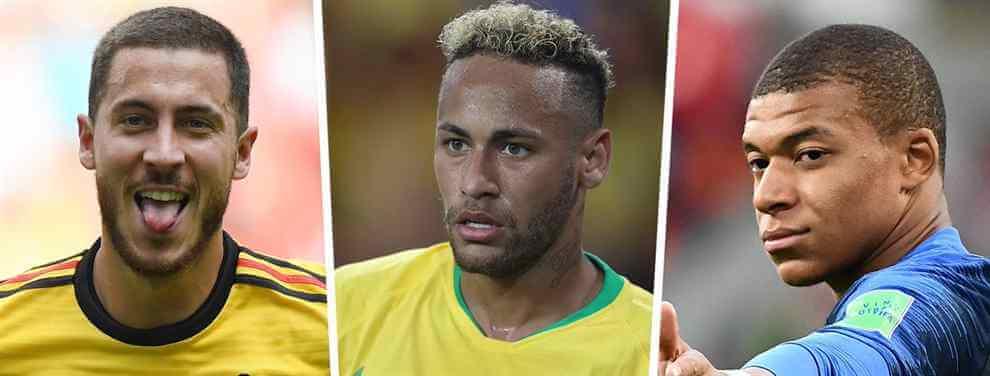 Florentino Pérez sabe que los fichajes de Eden Hazard, Neymar Junior y Kylian Mbappé son muy complicados y busca alternativas para reforzar al Real Madrid de cara a junio.
