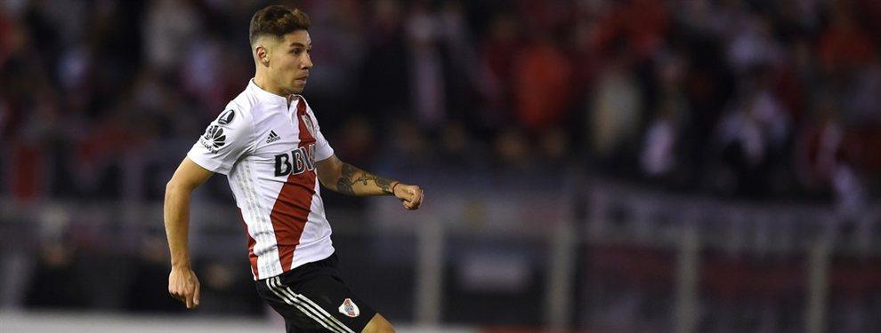 Gonzalo Montiel, recuperado de su lesión, podría ser parte del duelo de ida de la Recopa.