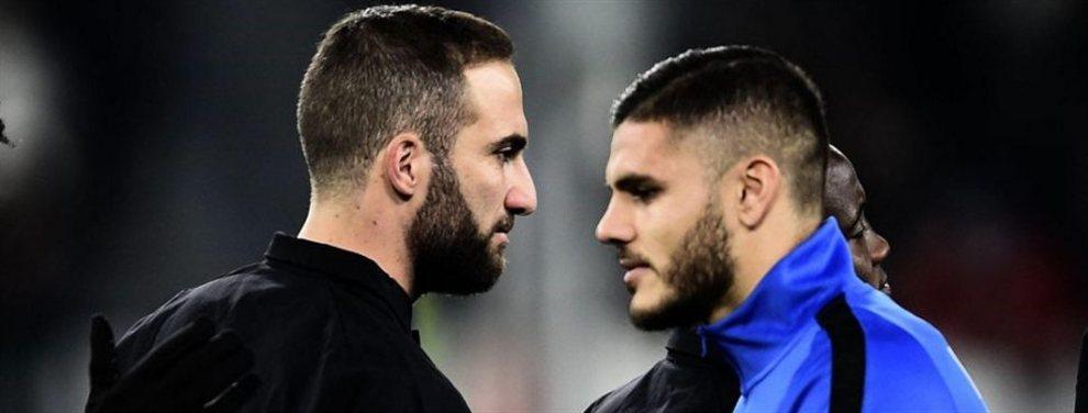 Higuaín e Icardi son los candidatos de la Juventus para acompañar a Cristiano Ronaldo en la delantera.