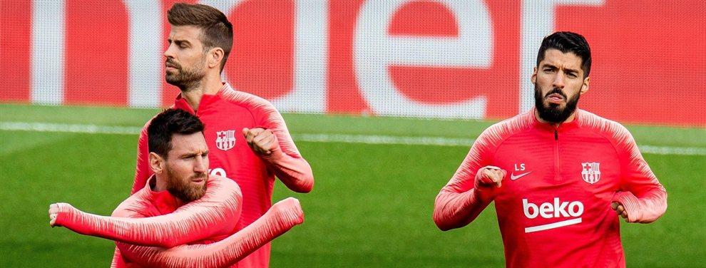 El Barça acelera la primera salida por orden de Messi, Piqué y Suárez