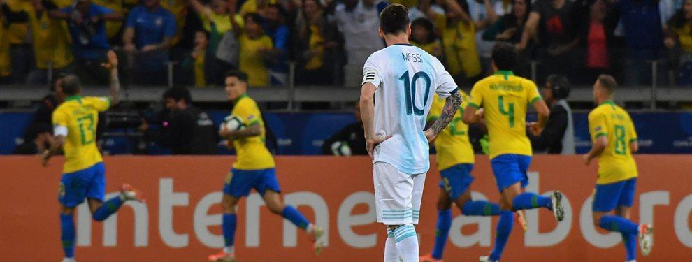 En el estadio Mineirao, Argentina perdió por 2 a 0 ante Brasil y quedó eliminada de la Copa América.