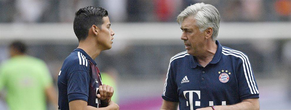 Carlo Ancelotti trata de convencer a James Rodríguez de que firme por el Napoli subiéndole el sueldo