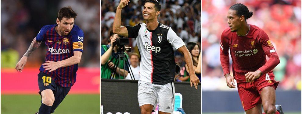 Lionel Messi compite con Cristiano Ronaldo y Virgil Van Dijk por el premio al Mejor Jugador de la UEFA.