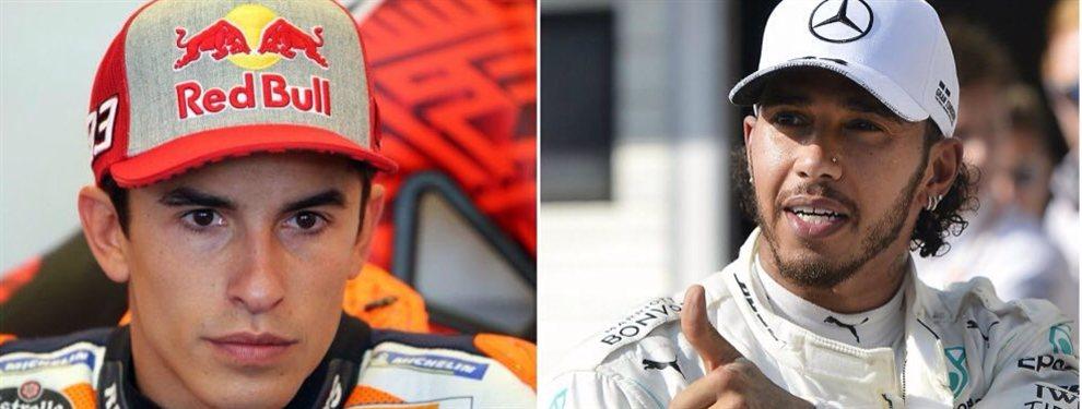 ¡Bombazo, habrá duelo de duelos! ¡Marc Márquez contra Lewis Hamilton!: Las dos súper estrellas del mundo de la moto y la Fórmula 1 se verán las caras