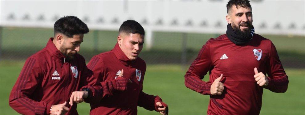 Juan Fernando Quintero volvió a realizar trabajos con pelota en la práctica de River.