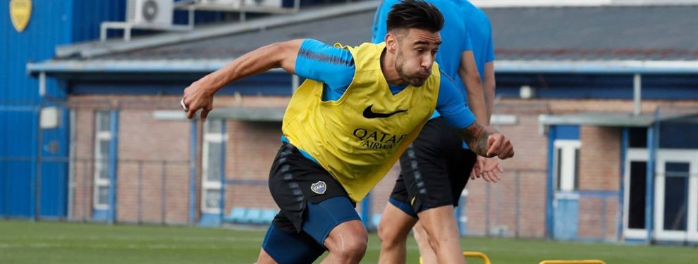 Eduardo Salvio se sumó a los entrenamientos de Boca a la par de sus compañeros tras superar una lesión.
