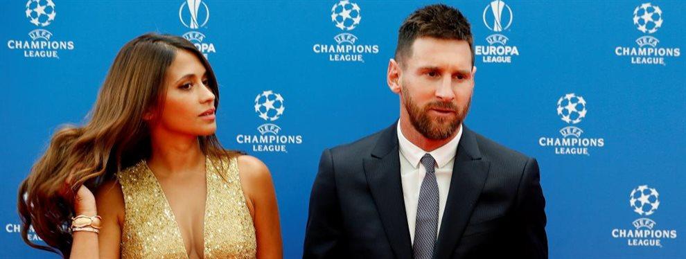 Leo Messi está muy enfadado con el Barça, y puede decir adiós, algo que Antonella Roccuzzo intenta evitar
