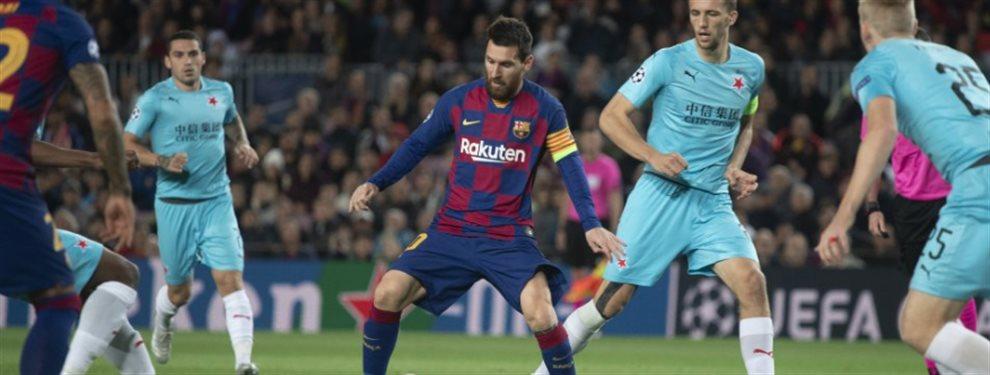 Leo Messi está tremendamente enfadado y no aguanta más ridículos como el del Slavia de Praga, por lo que pide fichajes