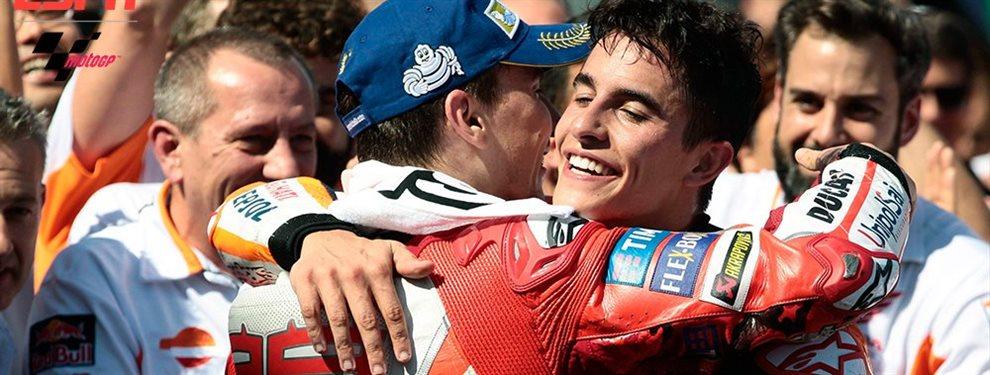 Marc Márquez no es tan pesimista con jorge Lorenzo y ve que puede volver en cualquier momento, de hecho le espera dispuesto para esta próxima temporada
