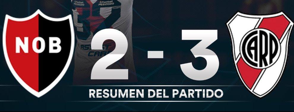 El Millonario remontó el encuentro ante la Lepra y le ganó 3-2 con tantos de Nacho Fernández, Borre y Scocco