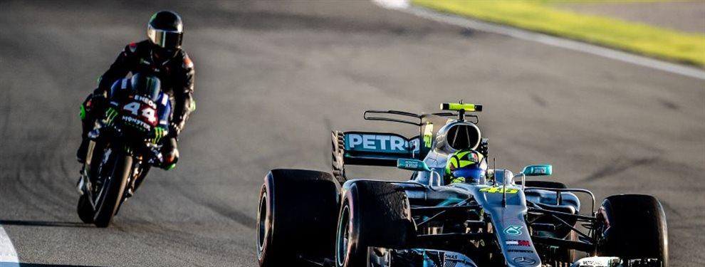 El último día de la temporada 2019 para Lewis Hamilton fue accidentado y sufrió una caída atípica para el piloto británico. La culpa, de ¡Valentino Rossi!